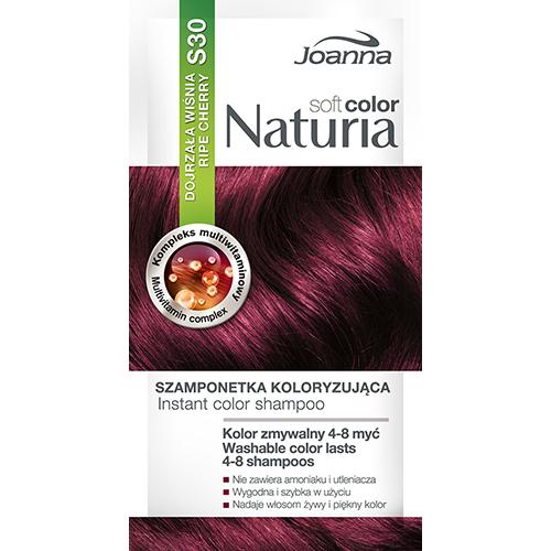 Оттеночный шампунь для волос JOANNA NATURIA SOFT тон 30 Спелая вишняОкрашивание<br>Не содержит аммиака и окислителей,  цвет сохраняется до  4-8 процедур мытья волос?, Рецептура обогащена мультивитаминным комплексом, который питает и увлажняет волосы.<br>*Интенсивность цвета зависит от исходного цвета и состояния волос.<br>