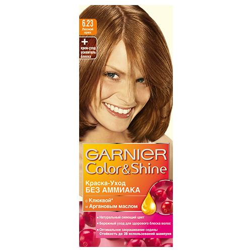 Краска для волос `GARNIER` `COLOR &amp; SHINE` тон 6.23 (Лесной Орех)Окрашивание<br>Garnier Color  тюбик с крем-краской (40 мл); крем-уход усилитель блеска после окрашивания; инструкция; пара перчаток.<br>