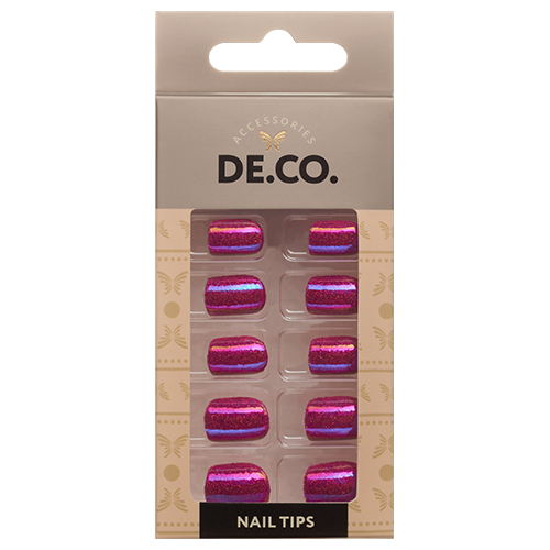 Набор накладных ногтей DE.CO. METALLIC 24 шт + клеевые стикеры 24 шт sparkling rose