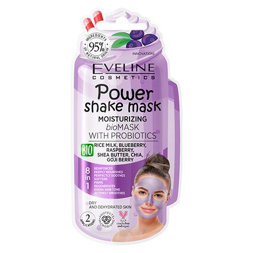 Маска для лица EVELINE POWER SHAKE с пробиотиками и рисовым молочком интенсивно увлажняющая 8 мл