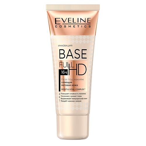 База под макияж EVELINE FULL HD 16H матирующая с эффектом сияния