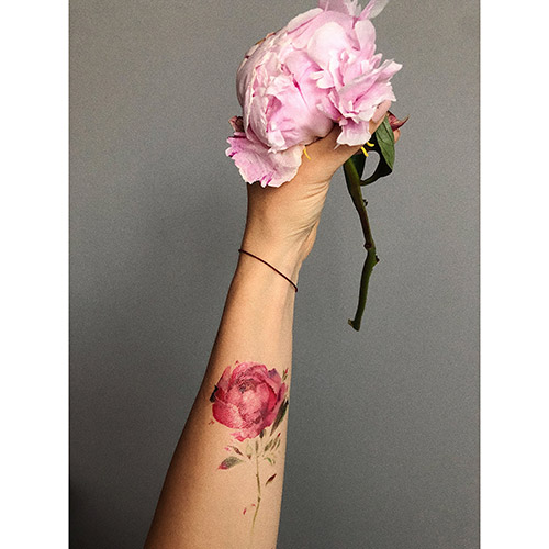 Татуировка для тела `DE.CO.` WATERCOLOR STORY by Miami tattoos переводная (Pink rose brunch)