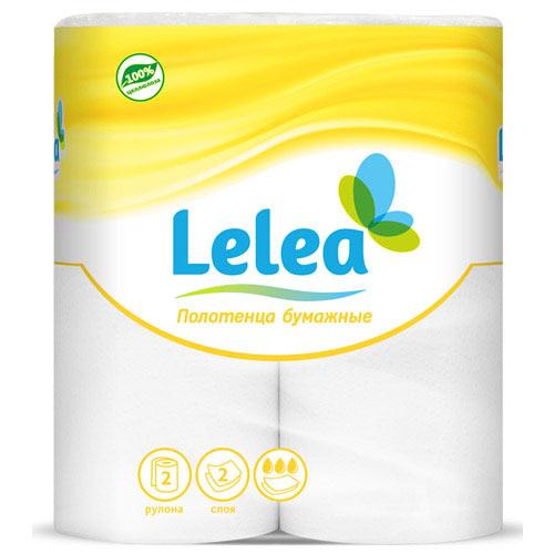 Полотенца бумажные `LELEA` 2-х слойные 2 шт            а/пСалфетки<br>Полотенца бумажные LELEA.<br>Многослойные (2 слоя) с цветным тиснением и перфорацией, белые, 2 рулона.<br>Длина рулона: 12.5м +/-5%.<br>Размер листа: 220 х 250мм +/-5%<br>Количество листов в рулоне: 50шт. +/-5%<br>
