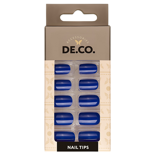 Набор накладных ногтей DE.CO. ESSENTIAL blue sapphire 24 шт + клеевые стикеры 24 шт