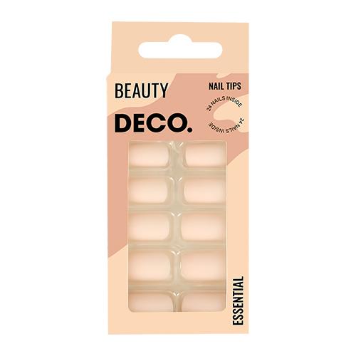 Набор накладных ногтей DECO. ESSENTIAL matt nude 24 шт + клеевые стикеры 24 шт