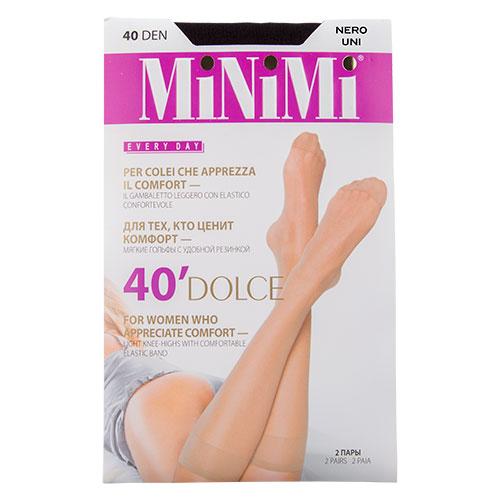 Гольфы женские `MINIMI` DOLCE 40 den (Nero) 2 парыГольфы и носки<br>Матовые гольфы с резинкой Топ комфорт с укрепленным мыском<br>