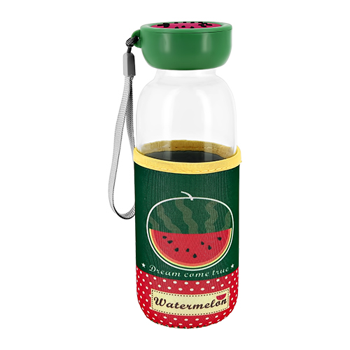 Купить Бутылка для воды FUN в чехле с фруктами Арбуз 380 мл, КИТАЙ/ CHINA