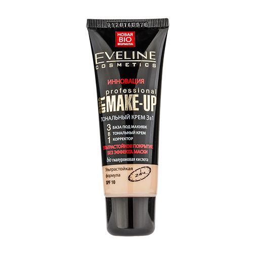 Крем тональный для лица EVELINE ART PROFESSIONAL MAKE-UP 3 в 1 ультрастойкий тон светлый бежевый