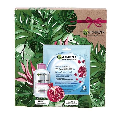 Купить Набор подарочный женский GARNIER мицеллярная вода 125 мл, маска для лица тканевая 1 шт, РОССИЯ/ RUSSIA