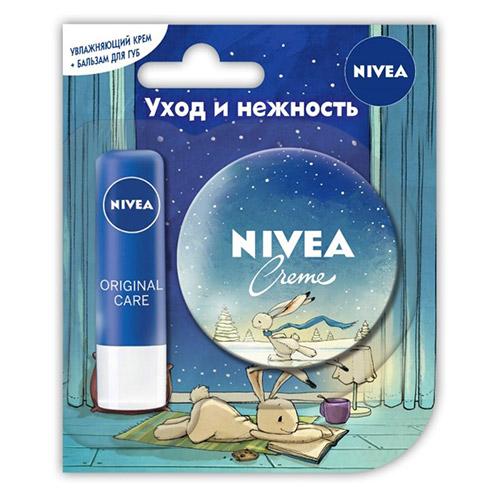 Набор подарочный NIVEA ОСНОВНОЙ УХОД универсальный крем 30 мл, бальзам для губ 2 шт фото