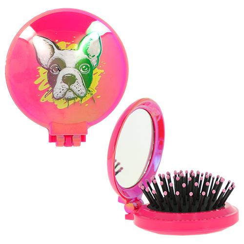 Купить Расческа для волос LADY PINK DOG с зеркалом красная, КИТАЙ/ CHINA