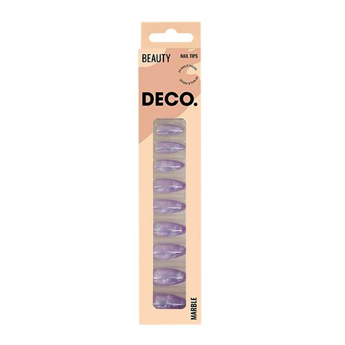 Набор накладных ногтей DECO. MARBLE violet 24 шт + клеевые стикеры 24 шт