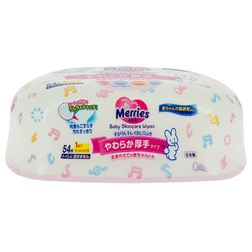 Салфетки влажные детские `MERRIES` (контейнер) 54 штСредства по уходу<br>Детские влажные салфетки «Merries» предназначены для вытирания попки малыша. Их также можно использовать для очищения рук и тела. Мягкие толстые детские влажные салфетки Merries с уникальным пористым слоем, удерживающим частички детского стула. Имеют слабую кислотность, как и кожа человека.Не содержат ароматизаторов и спирта.В состав входит композиция из натуральных экстрактов растений, защищающая кожу.<br>