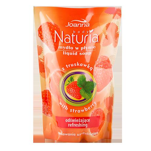 Мыло жидкое JOANNA NATURIA  BODY Клубника  (смен блок) 300 млОчищение<br>Жидкое мыло  со свежим фруктовым запахом идеально очищает и освежает  кожу.Содержит экстракт  клубники , который обладает увлажняющими свойствами.<br>
