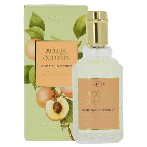 Одеколон 4711 ACQUA COLONIA BALANCING - WHITE PEACH &amp; CORIANDER (жен.) 50 млЖенская<br>4711 Acqua Colonia White Peach &amp; Coriander – легкий и жизнерадостный фужерно-фруктовый унисекс парфюм с тонкими ароматическими акцентами. Аромат выпущен в 2017 году немецким парфюмерным брендом Maurer &amp; Wirtz в рамках коллекции 4711 Acqua Colonia. Своим звучанием парфюм предлагает прикоснуться к ярким, волнующим ароматам солнечного лета, сочетая в себе запахи спелых фруктов, цитрусов, волнующую свежесть зелени и запахи пряных трав. Ароматическая композиция объединила игристую прохладу солнечных цитрусов и бархатисто-медовый запах белого персика, тонущих в ароматах сочной зелени, пряных трав и пряно-специевых акцентах кориандра.Легкая и просто очаровательная ароматическая композиция неизменно поднимет настроение своему владельцу и окружающим его людям, напомнив о солнечном лете, спелых фруктах и ароматах пряных трав.<br>