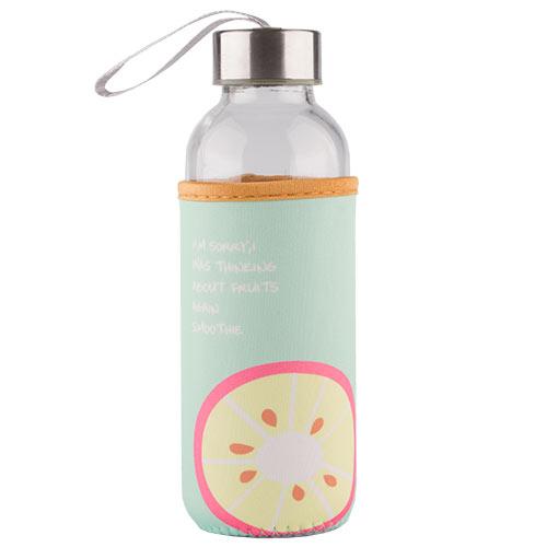 Бутылка для воды FUN в чехле с фруктами mint 400 мл, КИТАЙ/ CHINA  - Купить