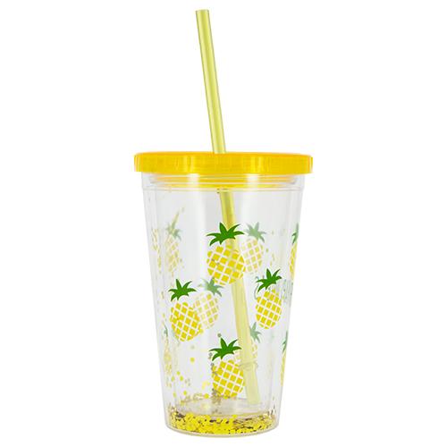 Купить Стакан для воды FUN с трубочкой Pineapple 450 мл, КИТАЙ/ CHINA
