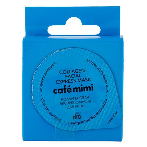 Маска для лица `CAFE MIMI` коллагеновая 15 млМаски<br>Вуаля! Маска мгновенно восстанавливает водный баланс кожи, возвращает клеткам объем, улучшает коллагеновые связи, благодаря чему лицо выглядит отдохнувшим и сияющим.<br>