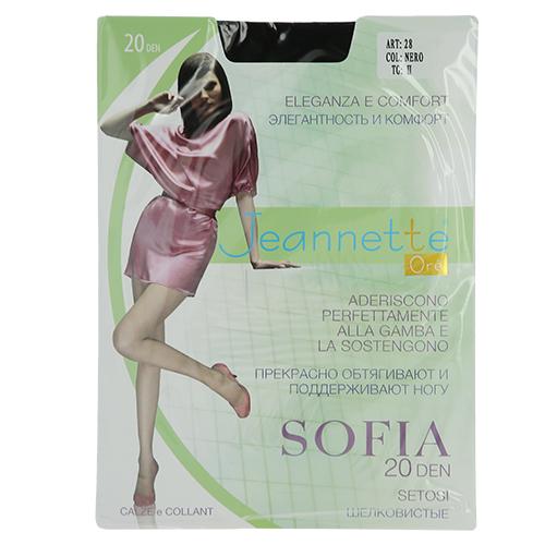 Колготки женские `JEANNETTE ORE` SOFIA 20 den (Nero) р-р 2Колготки<br>Колготки шелковистые, эластичные.Укрепленный,прозрачный мысок.<br>