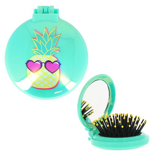 Купить Расческа для волос LADY PINK PINEAPPLE компактная с зеркалом бирюзовая, КИТАЙ/ CHINA
