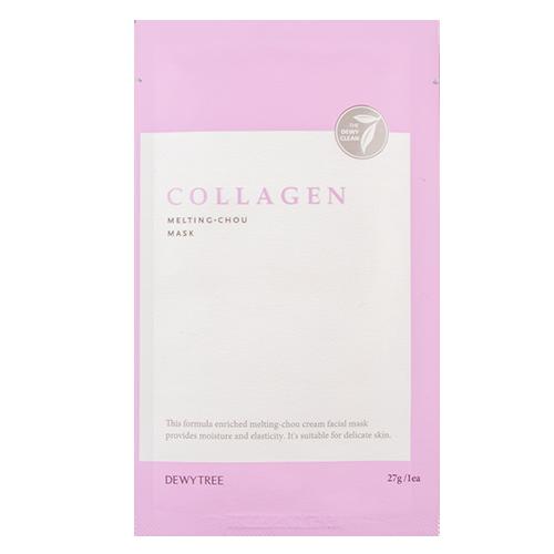 Маска для лица `DEWYTREE` MELTING-CHOU с коллагеном 27 гМаски<br>Маска имеет нежную и мягкую кремовую текстуру и выполнена из тончайшего микроволокна, плотно прилегающего к коже, что позволяет питательным веществам легче проникать  в кожу, увлажняя, питая и не оставляя липкости. <br>Гидролизованный коллаген в составе маски хорошо проникает в кожу, способен притягивать большое количество молекул воды, а за счет пленки, которую он образует на поверхности кожи, влага удерживается в ее слоях.<br>