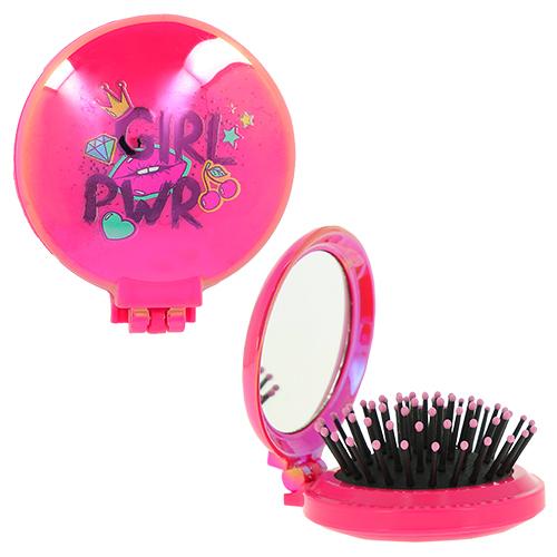 Купить Расческа для волос LADY PINK GIRL POWER с зеркалом малиновая, КИТАЙ/ CHINA