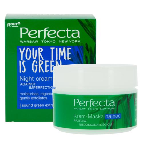 Крем-маска для лица `PERFECTA` YOUR TIME IS GREEN ночной 50 млДля проблемной кожи<br>КРЕМ-МАСКА НОЧНОЙ мягко отшелушивает, устраняет недостатки и нормализует работу сальных желез. Делает кожу идеально увлажненной и гладкой.<br>Sound Green Extract – уникальный ФИТО экстракт, полученный инновационным методом с помощью ультразвука. Обладает сильными очищающими свойствами, нормализует и тонизирует кожу, придает ей жизненных сил.<br>Розмарин - обладает антиоксидантным, антибактериальным и успокаивающим свойствами.                                          <br>Миндальная кислота - отшелушивает мертвые клетки эпидермиса, регулирует работу сальных желез. Устраняет существующие недостатки и разглаживает кожу. Выравнивает ее тон.<br>