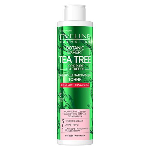 Тоник для лица EVELINE BOTANIC EXPERT TEA TREE 3 в 1 антибактериальный очищающе-матирующий 225 мл