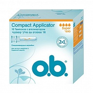 Тампоны `O.B.` COMPACT APPLICATOR Super 16 шт